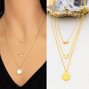 NEW Delicate Dainty Pendant 3 Layer Necklace Gold